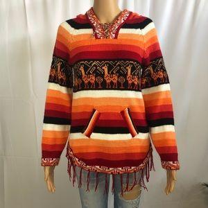 Vintage llama fringe poncho sweater size small